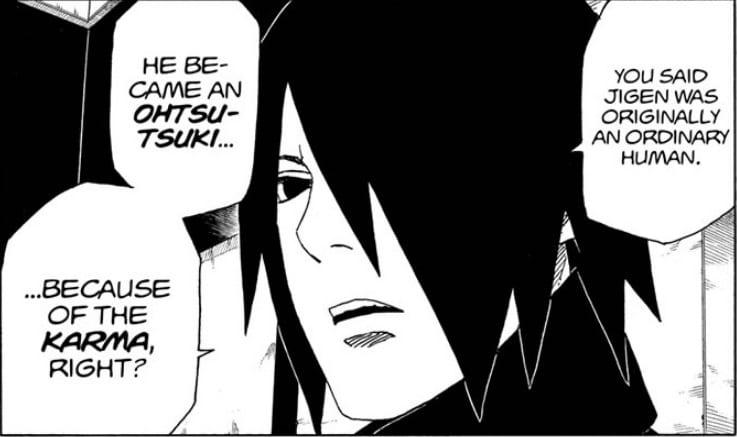 Sasuke drawing connection between the karma seal and Otsutsuki in Boruto Manga