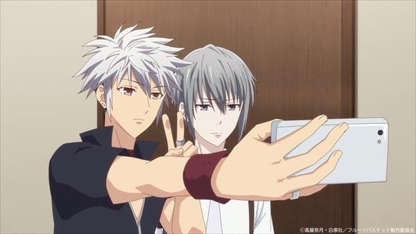 Hatsuharu and Yuki take a selfie at the Sohma estate in Fruits Basket season 2 episode 4