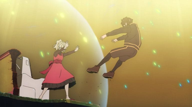 Rachel pushes Bam out of the bubble in Tower of God