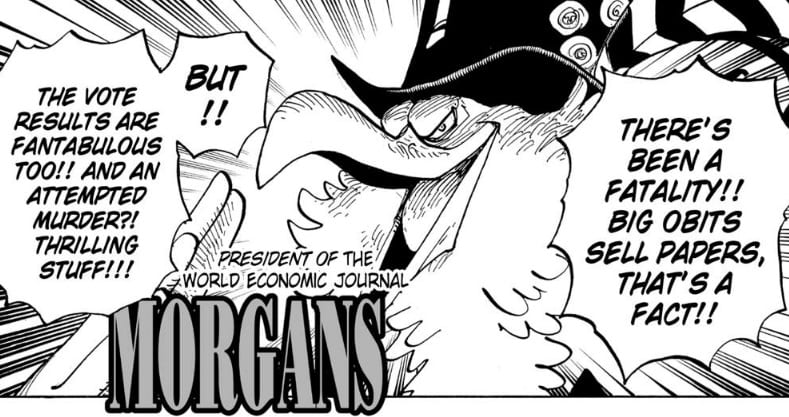Morgan says Obits sell the papers, One Piece chapter 956