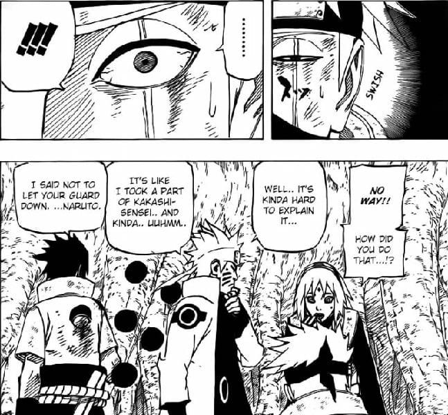 Naruto heals Kakashi's eye