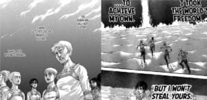 Eren lets his friends continue to stop him from carrying on the rumbling while he refuses to halt.