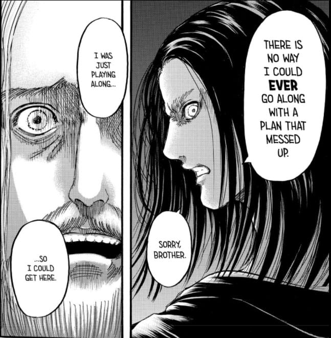 Attack on Titan Chapter 121 Eren tells Zeke he does not agree with his plans and will go on with the rumbling