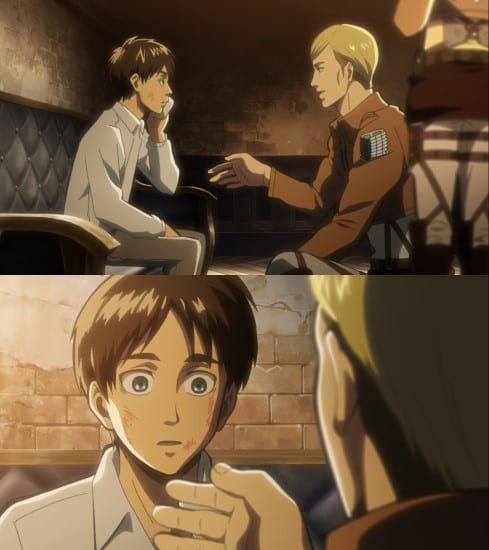 Erwin, with full knowledge that Eren could betray them, treated him with respect