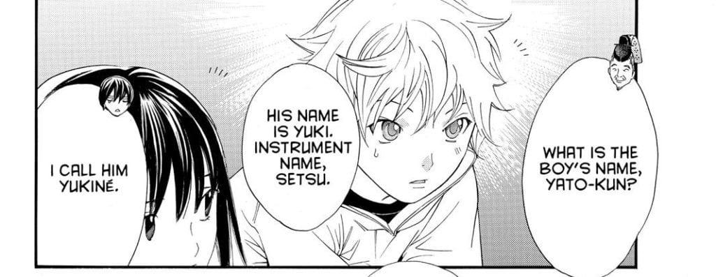 Yato tells Yukine's three names to Tenjin