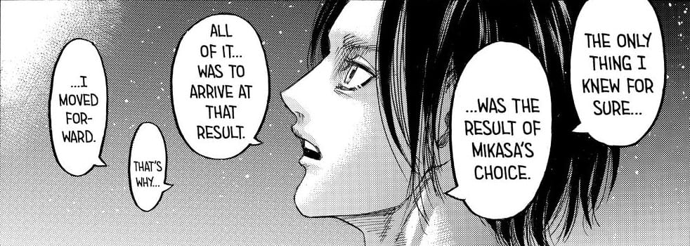 Eren talking about Ymir and Mikasa's role. Attack on Titan manga, chapter 139.