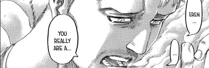 Reiner thinking back on Eren's choice in AOT chapter 139