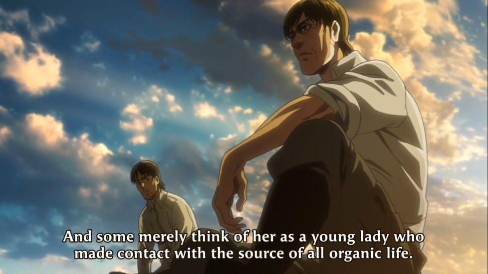Attack on Titan Season 3 Episode 21 - Eren Kruger mentioning about Ymir and hallucigenia