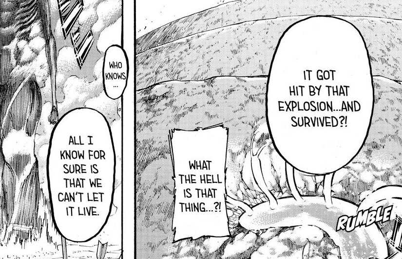 """The """"centipede"""". Attack on Titan manga, chapter 138"""