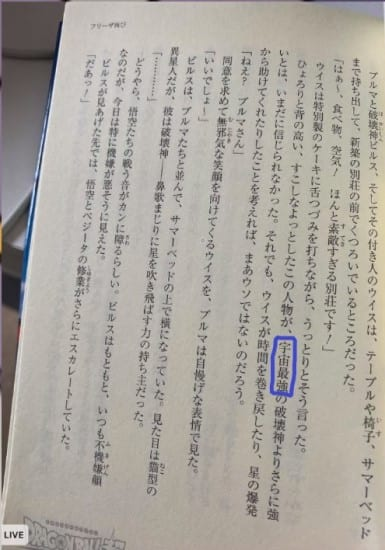 Dragon Ball Super Broly light novel claims that Beerus is the strongest God of Destruction in the multiverse