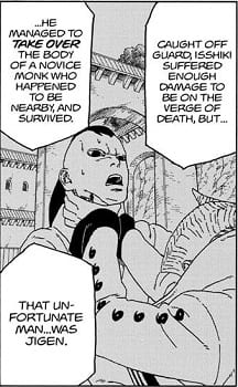 Jigen attacked by Isshiki, leading him to get the Karma Seal.