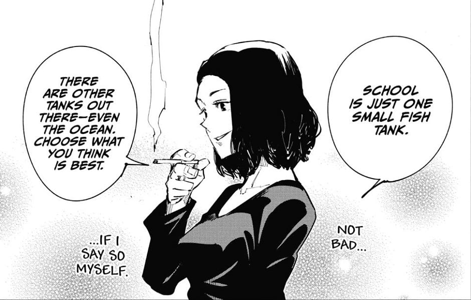 Junpei's mother comparing life choices with fish tanks and oceans