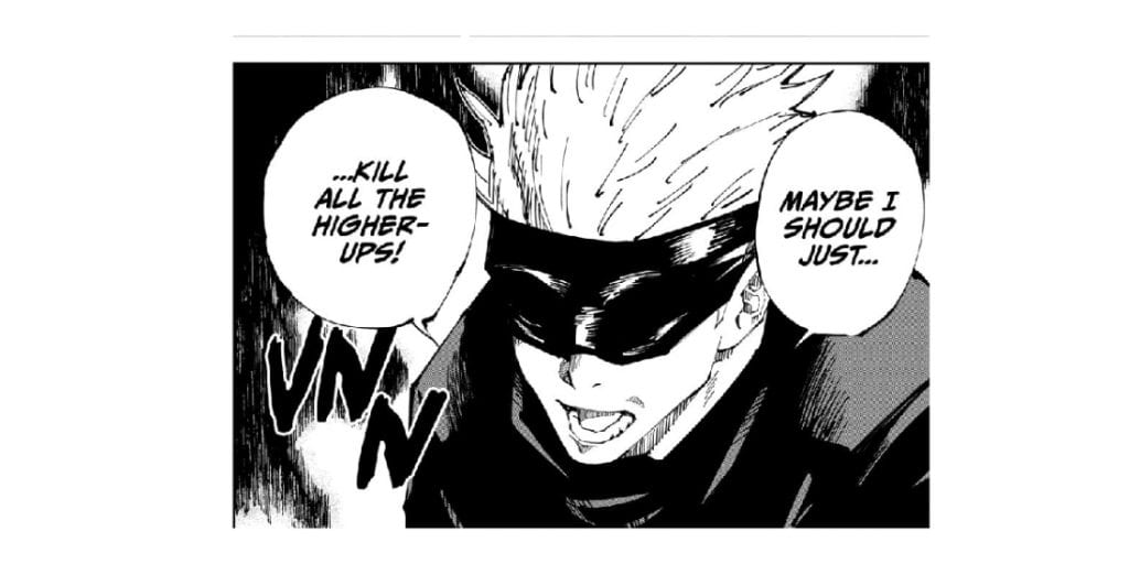 Gojo expresses his hatred towards the old higher ups of the Jujutsu world.