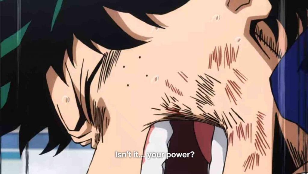 Deku tells Todoroki that he should embrace his fire quirk My Hero Academia Episode 24 Deku vs Todoroki
