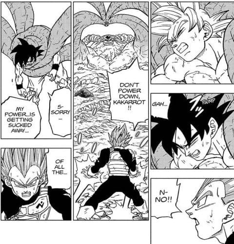 Vegeta panics when Goku reverts back to base form from MUI