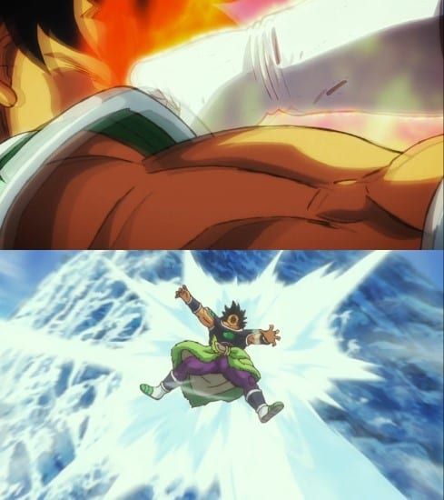 Broly getting whacked by SSG Vegeta