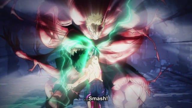 Midoriya using 1 million percent smash against Muscular