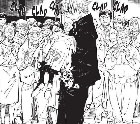 Gojo carrying the dead Riko