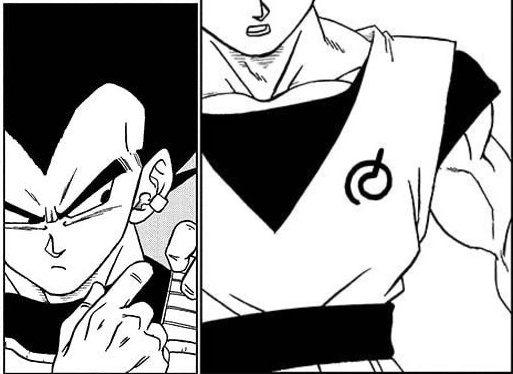 Vegeta's earring and Whis' signature on Goku's gi