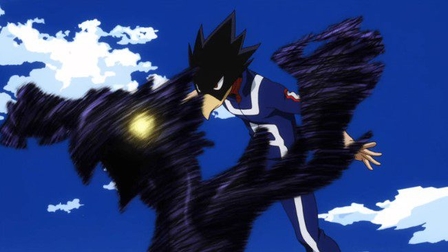 Fumikage's Dark Shadow Quirk during the UA Sports Tournament.