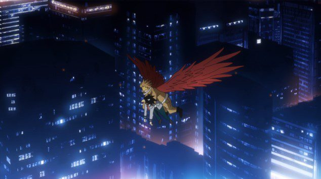 Hawks using his Quirk to help Fumikage fly with him.