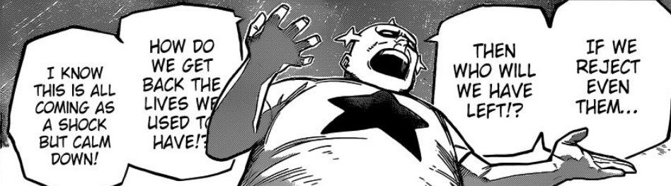 A civilian asks others to think about how important heroes are to them in MHA Chapter 325