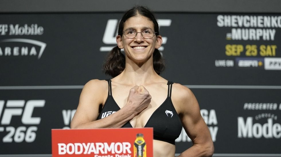 UFC Fighter Roxanne Modafferi Dons Attack On Titan Salute During Weigh-ins